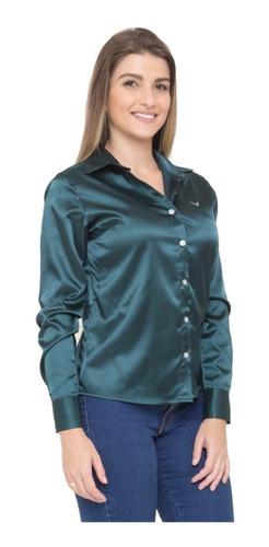 camisa social verde camisete feminina cetim c/ elastano