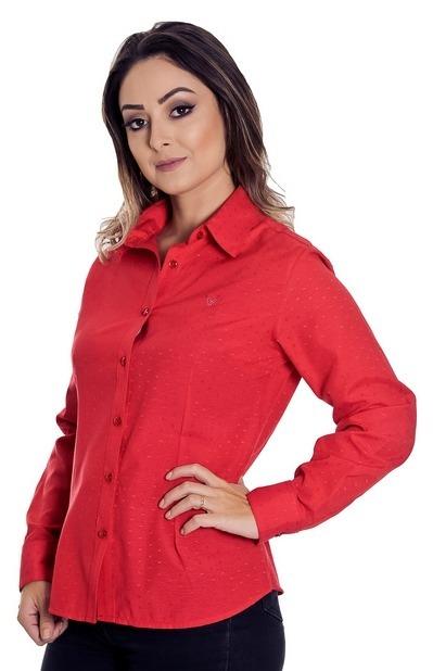 a400a22ae0c0a Camisa Social Vermelha Feminina Tiessa - Pimenta Rosada - R  125