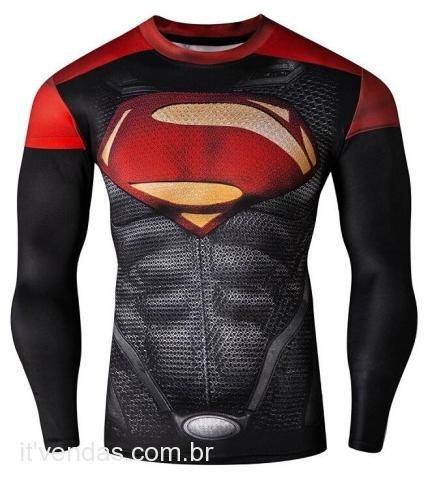 Camisa Superman Compressão Térmica Fitness - Veja O Vídeo! - R  49 ... 75d9cb8bac7bc