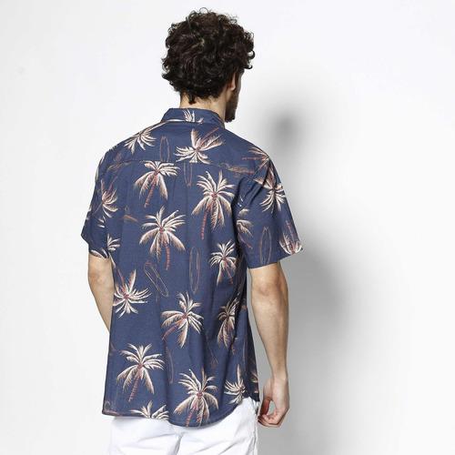 camisa surf - azul escuro & marrom claro - john john