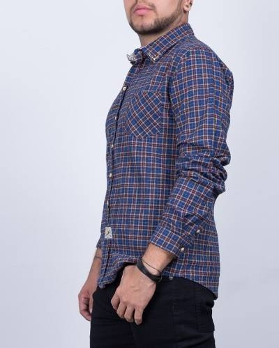 camisa synergy de cuadros navy h203m