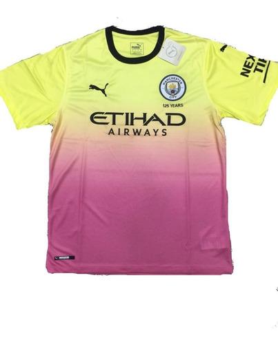 camisa tailandesa do manchester city 2019 degrade rosa com amarela