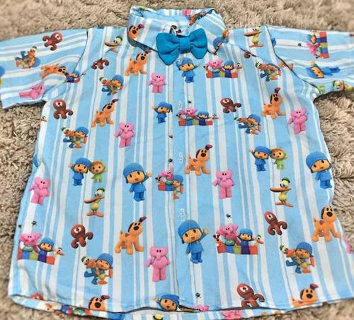 camisa temática pocoyo tematico linda festa luxo