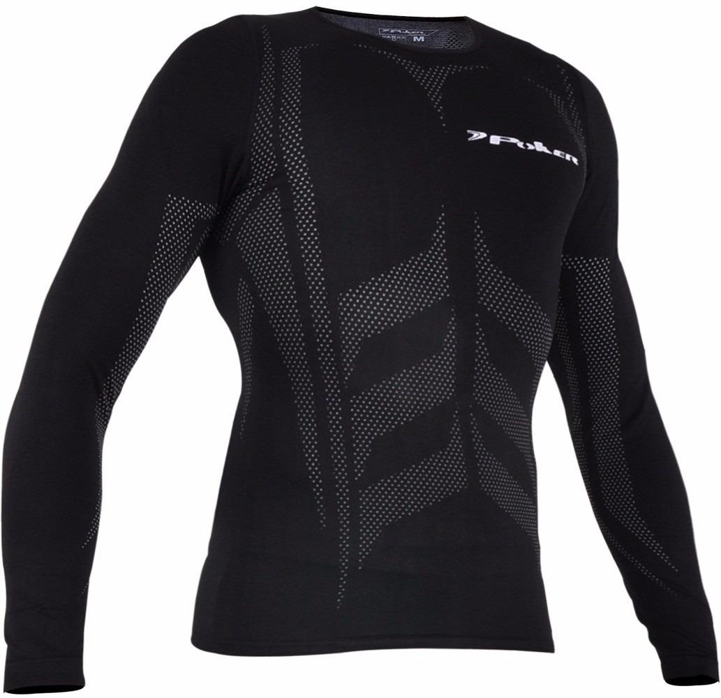 Camisa Térmica Poker Skin Compressão Sem Costura X-ray Preta - R  67 ... 019a50013bf79