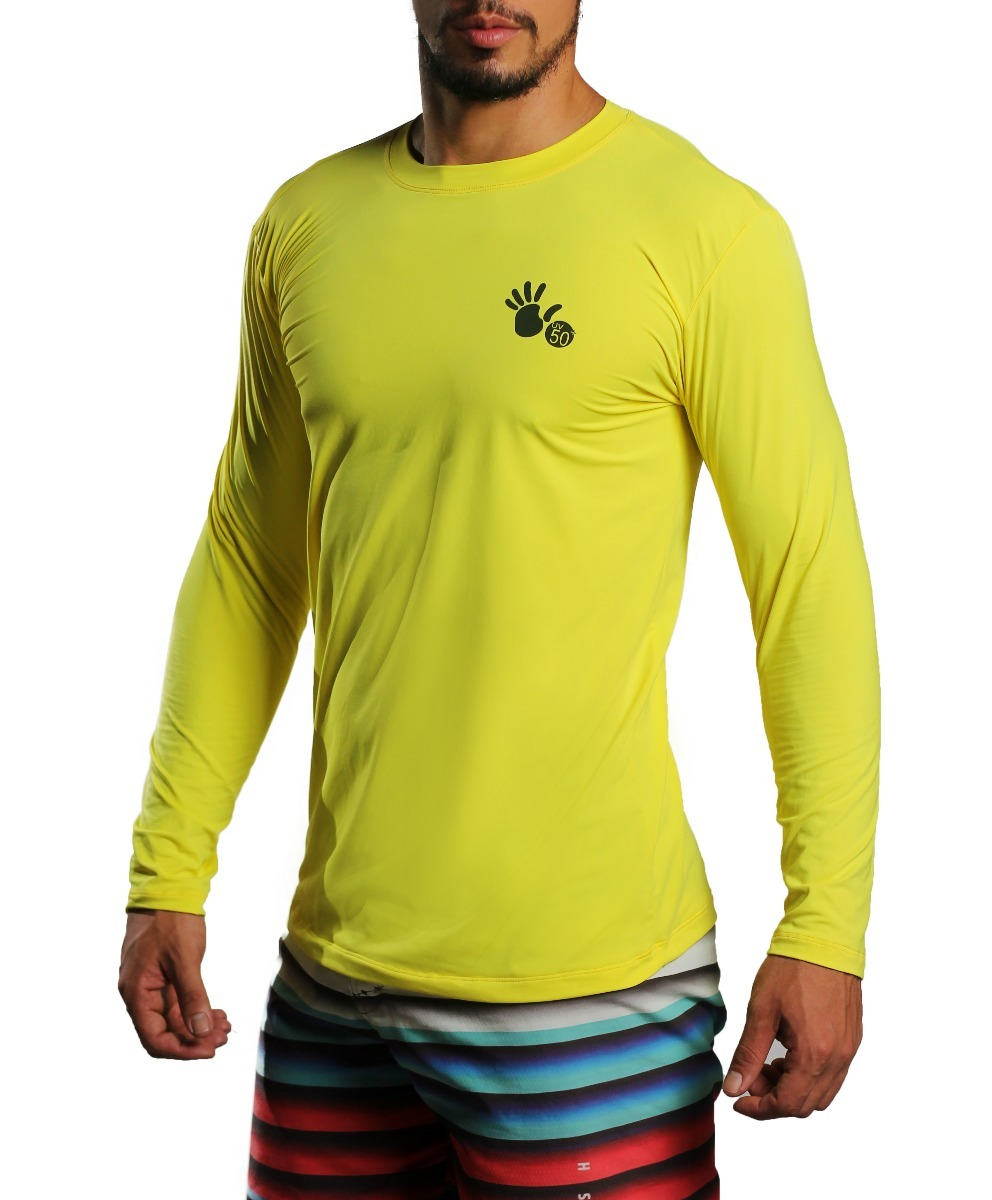 camisa termica proteção solar uv 50+ poliamida. amarelo. Carregando zoom. ac7218c95e914
