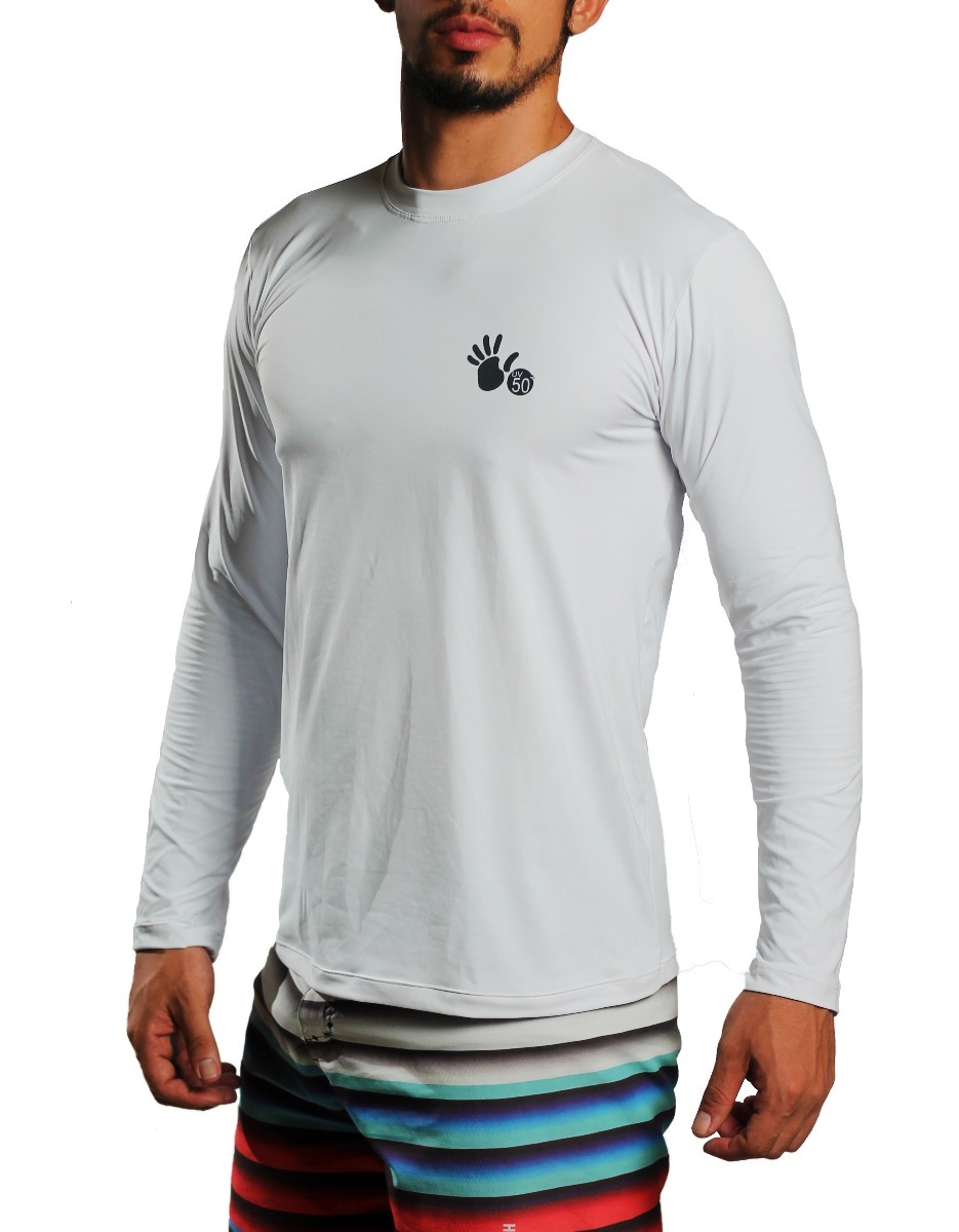 camisa termica proteção solar uv 50+ poliamida. branco. Carregando zoom. 55d87b5351fe1