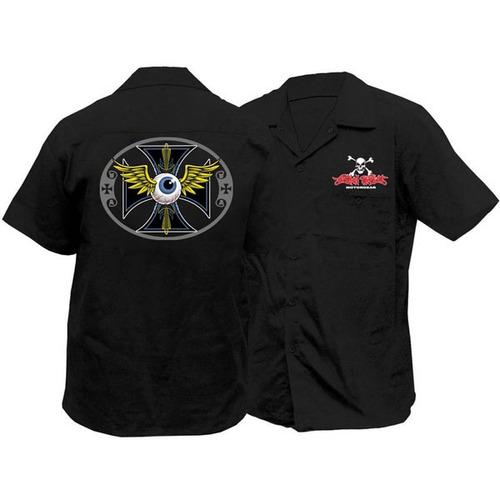 camisa threat de rayas globo ocular negra xl