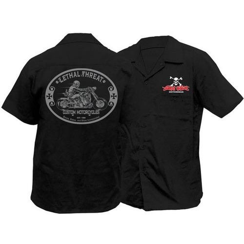 camisa threat lt custom motocicleta negra 3xl