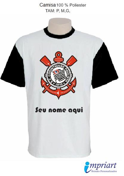 48cd659ecd92b Camisa Time Corinthians - Escudo Com Seu Nome - R  27