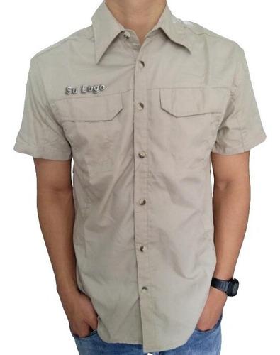 camisa tipo columbia chemise para uniforme bordado estampado