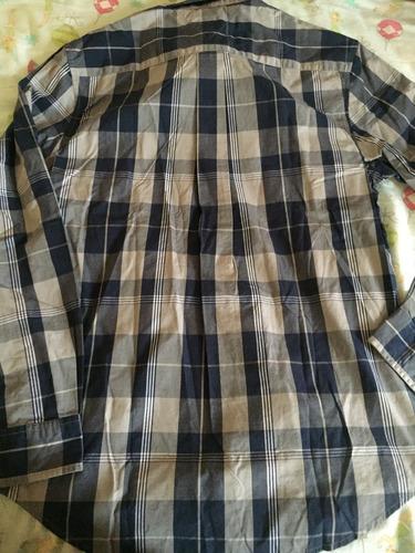 camisa tommy hifilger azul y gris talla medium ( 1183 )