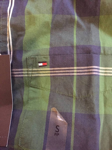 camisa tommy hifilger verde y azul talla small ( 1182 )