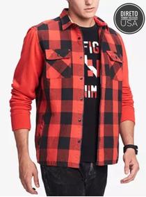 763049e618 Camisa Xadrez Vermelha Rock - Casacos no Mercado Livre Brasil