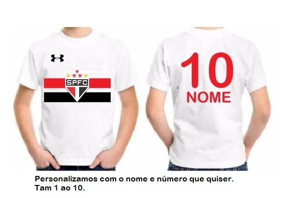 ec91b1919 Camisa Uniforme Infantil São Paulo Personalizada Com Nome - R  27