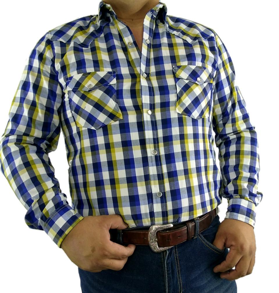 bdd727628545b Camisa Vaquera Cuadros Amarillos -   550.00 en Mercado Libre