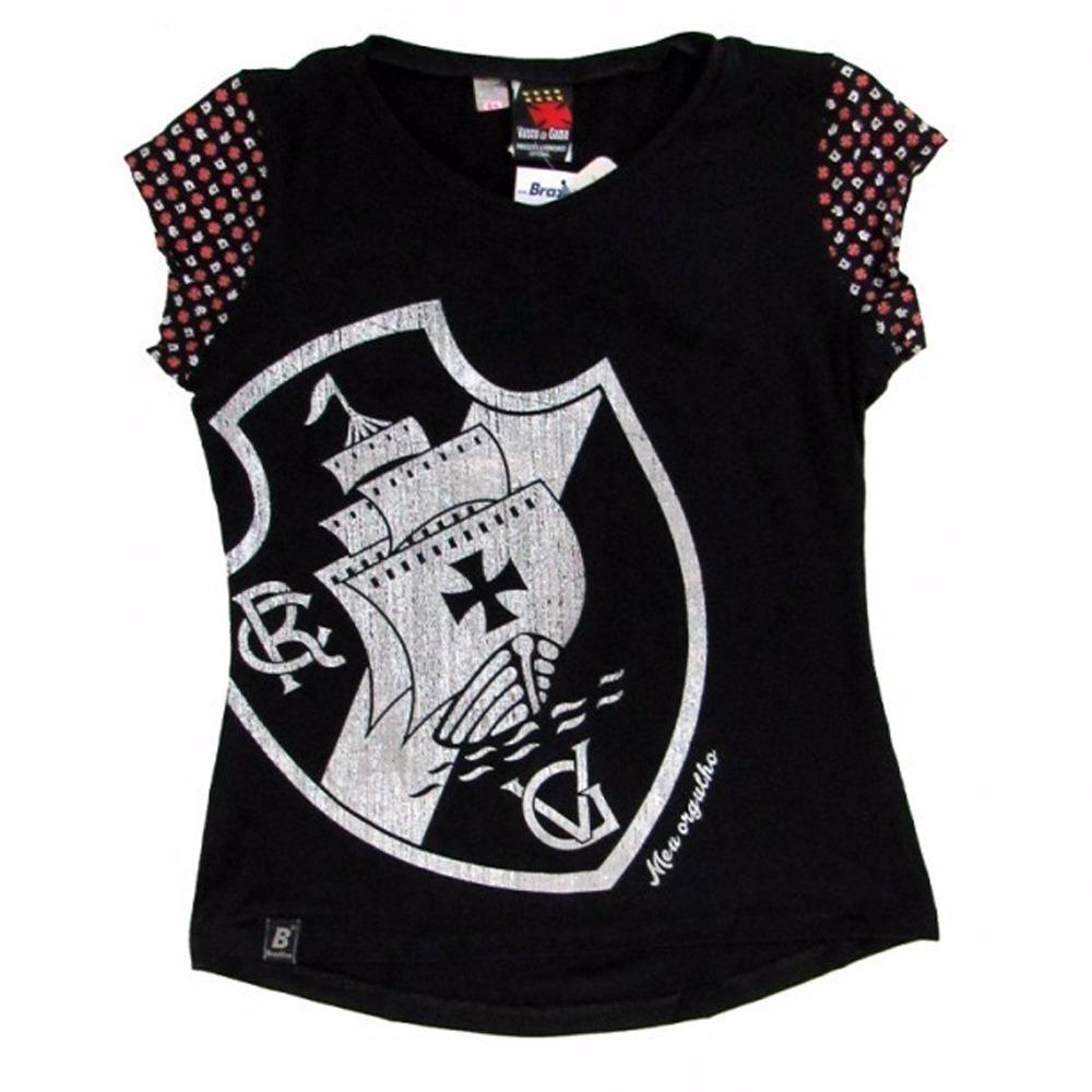 camisa vasco feminina oficial blusinha baby look joy. Carregando zoom. 185b104e97f65