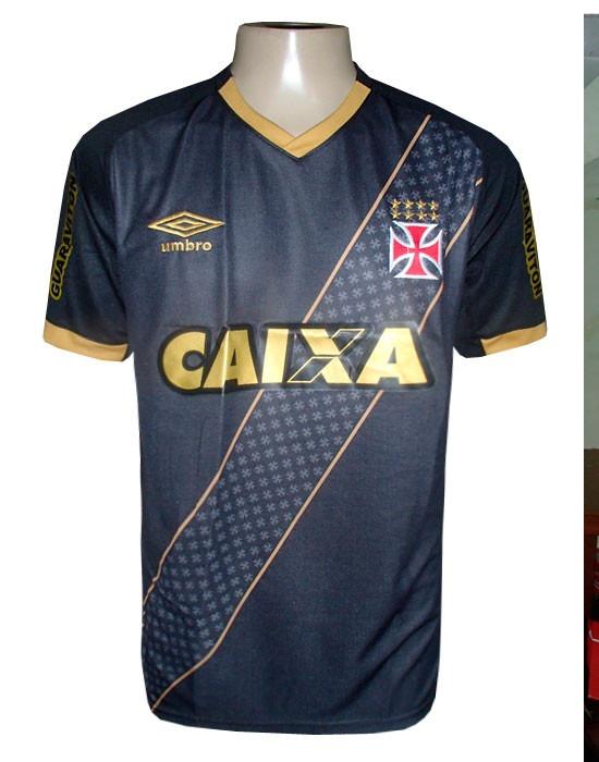 c22c9501d7487 Camisa Vasco Preta E Dourada - R  80