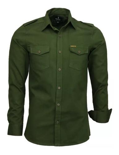 camisa verde escuro amil caçador 100% brim