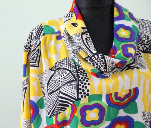 camisa vestido estilo almodovar 80s colorida vestuario