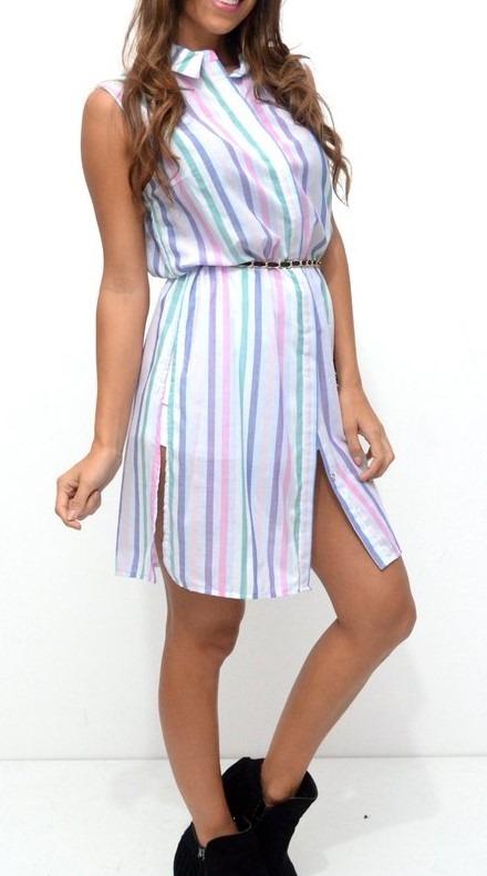 5db13336bae28 Camisa Vestido Mujer Con Tajo Primavera Verano 2018 19 -   475