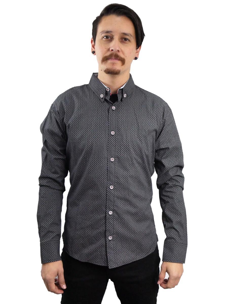 59f7f0d4f camisa vestir gris hombre manga larga rombos goth fgo021. Cargando zoom.