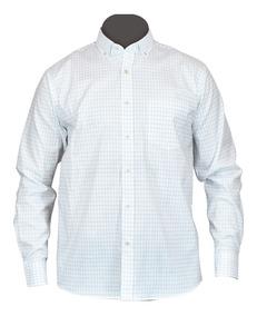 Camisa Vestir Manga Larga Blanca Cuadros Moderna Algodón Ame