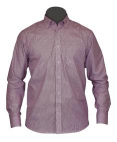 fca14a29435c Camisa Vestir Manga Larga Morada Rayas Moderna Algodón Kobe