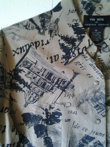 camisa via seta , seda 100% estampada color arena y negro.