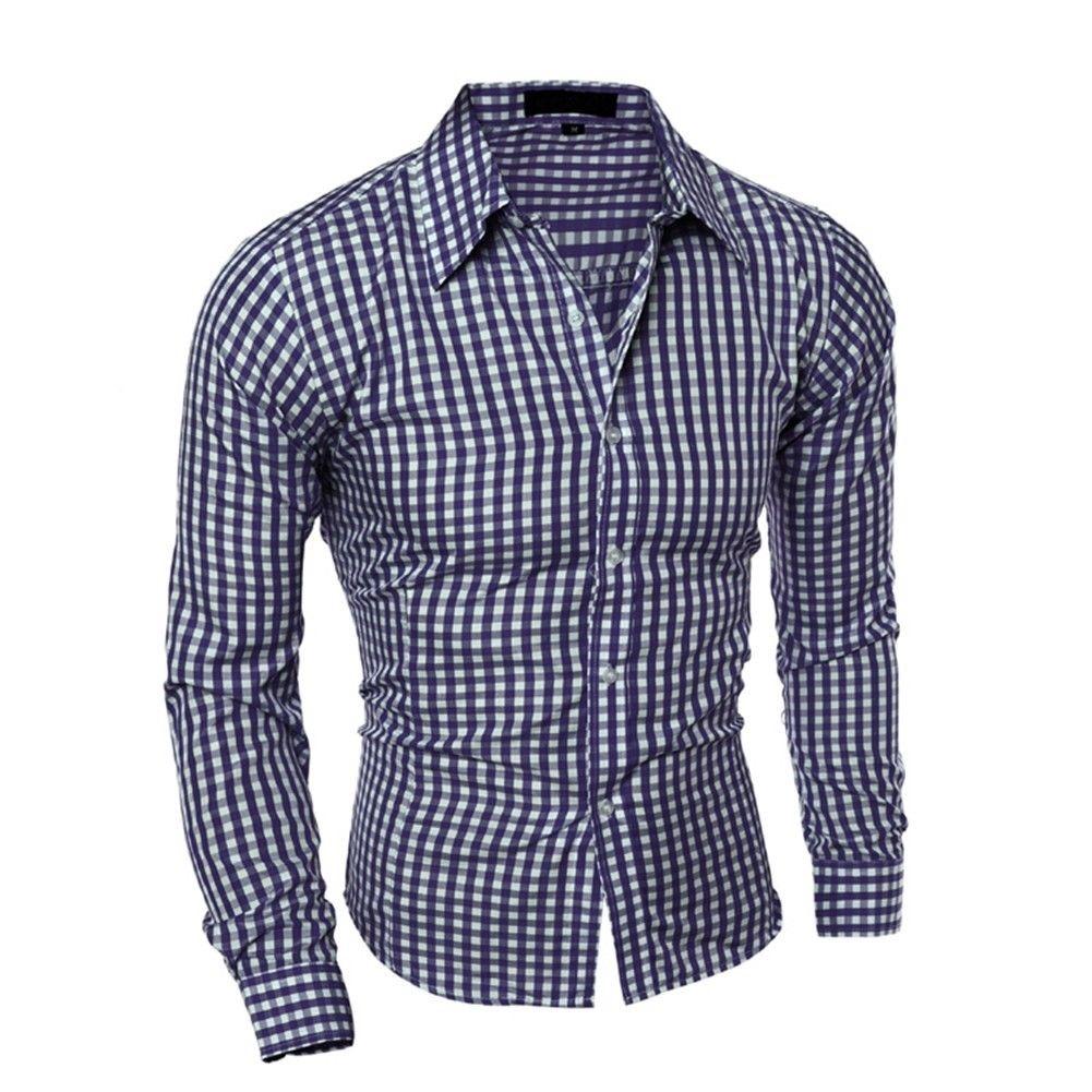 fb4c7ab4b4 camisa xadrez azul branca slim fit masculina manga comprida. Carregando  zoom.