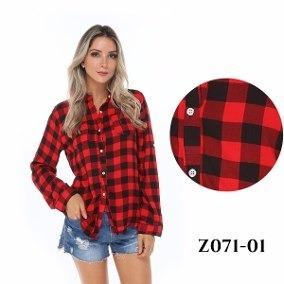 aabd9b07e4 Camisa Xadrez Blusa Feminina Promoção Atacado Camisete - R  45