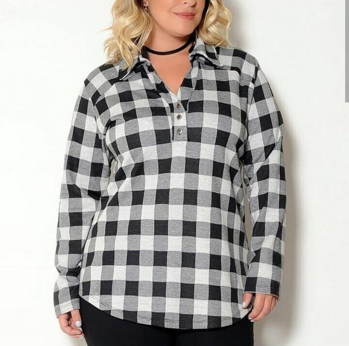 de993aa94a Camisa Xadrez Feminina Plus Size Estilo Botão Alta Qualidade - R  75 ...