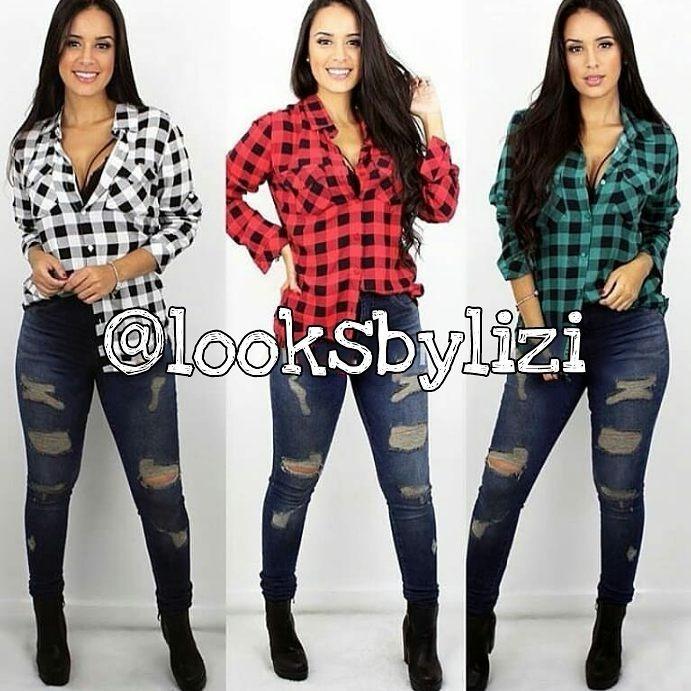 282968d78 Camisa Xadrez Feminina Promoção Looks - R  44