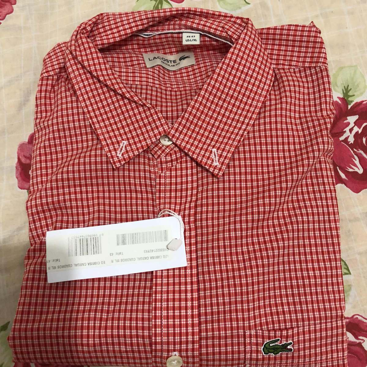 Camisa Xadrez Lacoste Manga Longa Tamanho 43 - R  299,99 em Mercado ... 51cdfdb6e3
