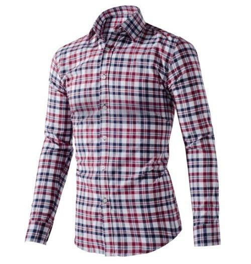 46ef639129 Camisa Xadrez Masculina Listrada Manga Longa Casual Slim Fit - R ...