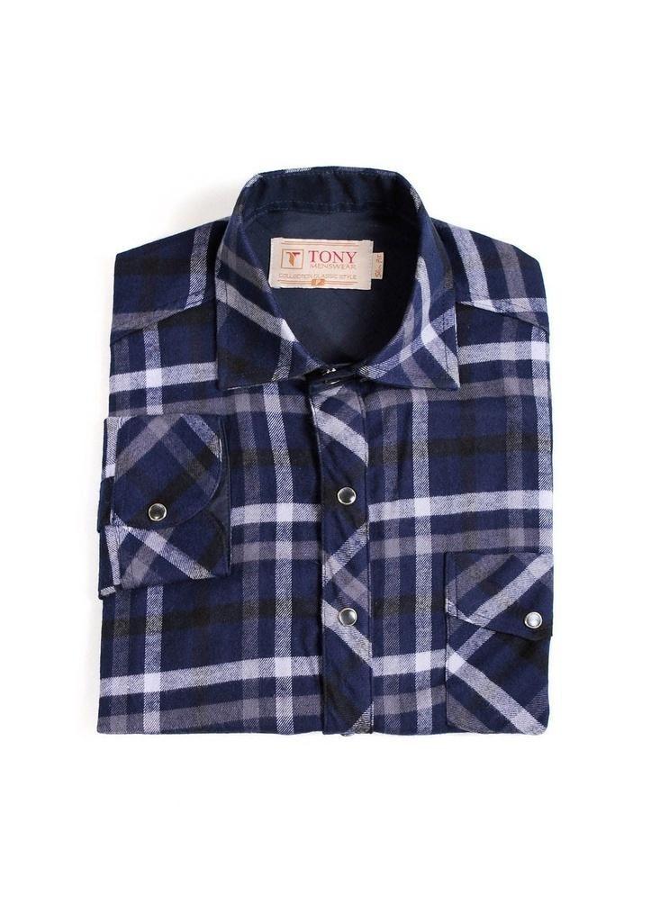 ef8a622fd camisa xadrez masculina slim de flanela azul marinho. Carregando zoom.