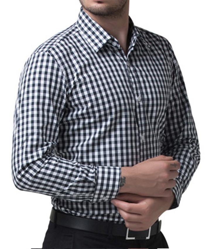 9a5f9c309 camisa xadrez preta branca slim fit masculina manga comprida. Carregando  zoom.