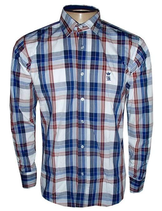 121fd9979 Camisa Xadrez Sergio K Social Manga Longa Azul E Branca - R  150
