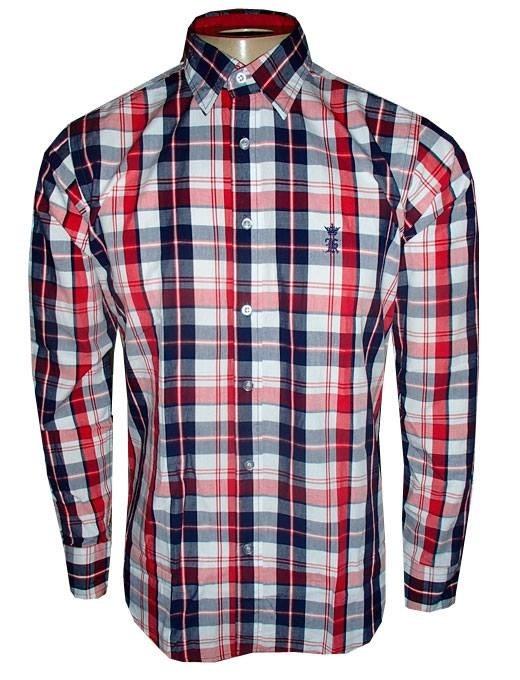 abf55e782 Camisa Xadrez Sergio K Social Manga Longa Vermelha E Azul - R  150 ...