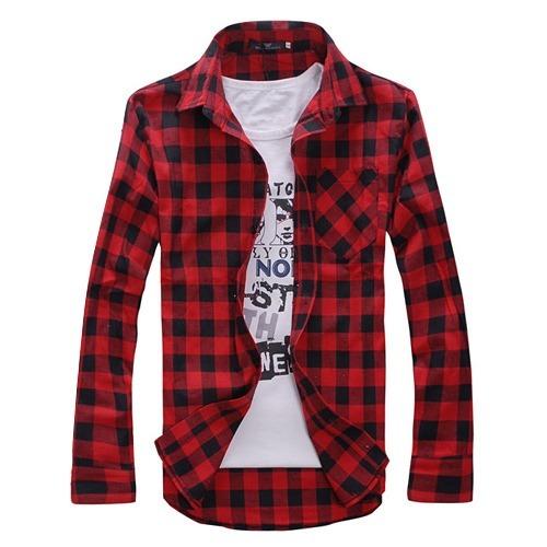 91cbc3401 Camisa Xadrez Slim Masculina Algodão Vermelha Preta Lenhador - R$ 60 ...