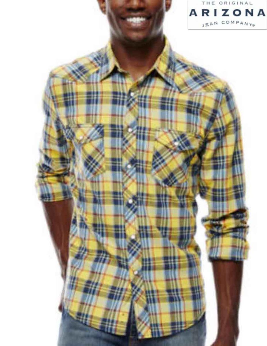 bb0e1520a3 camisa xxl arizona cuadros amarilla azul manga larga western. Cargando zoom.