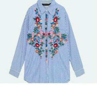 a22f6baf4 Camisa Zara Bordada Mujer Solo Talle M