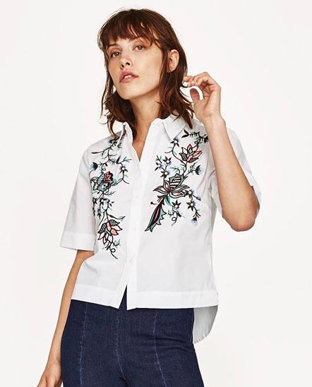 fuerte embalaje Precio 50% entrega rápida Camisa Zara Flores Bordadas