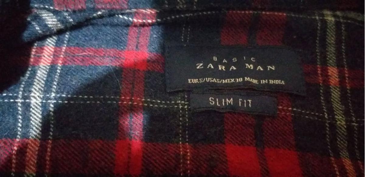 Camisa Zara Talla S, Slim Fit, Estilo Leñador