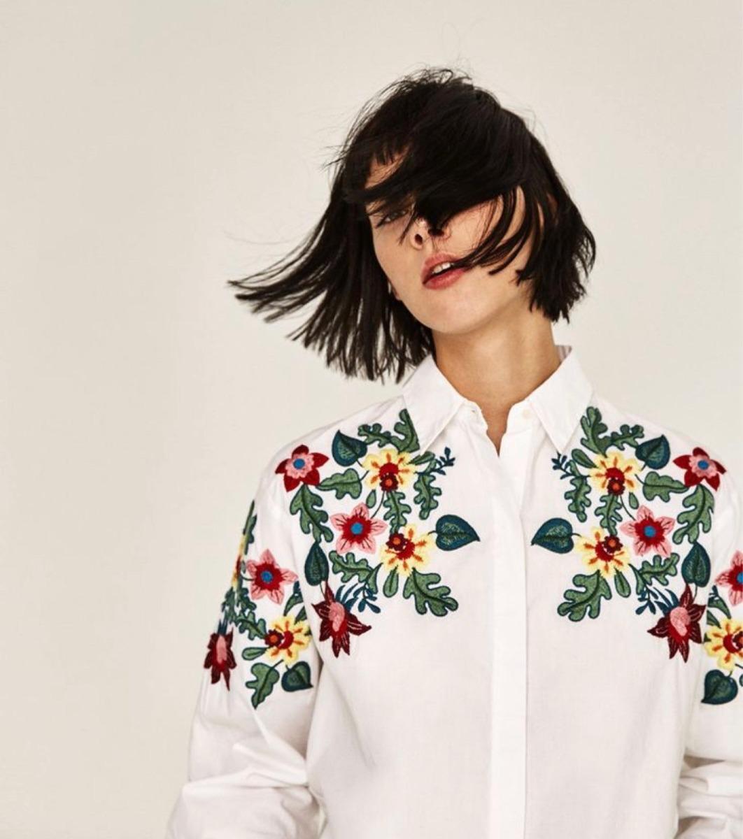 Zara 300 Estado Bordada Flores Impecable Camisa 1 En 00 Usa 1qvw1d