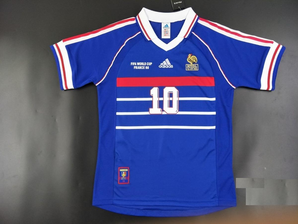 camisa zidane 10 frança copa mundo 1998 final - frete gratis. Carregando  zoom. 29327e49ab935