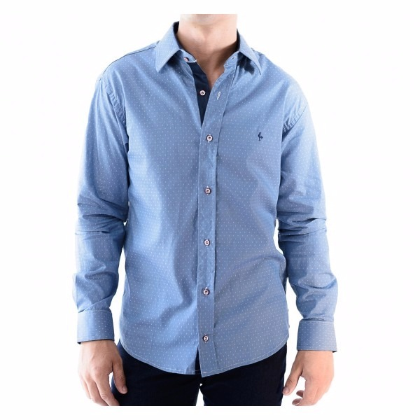 Camisa Zimpool Social Slim Fit Manga Longa Azul - R  85 a20f5c5269ac3