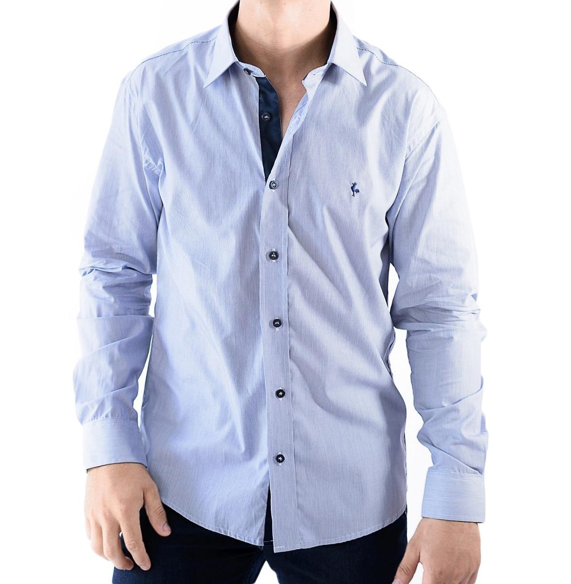 camisa zimpool social slim fit manga longa azul blue collect. Carregando  zoom. 5d70516961abf