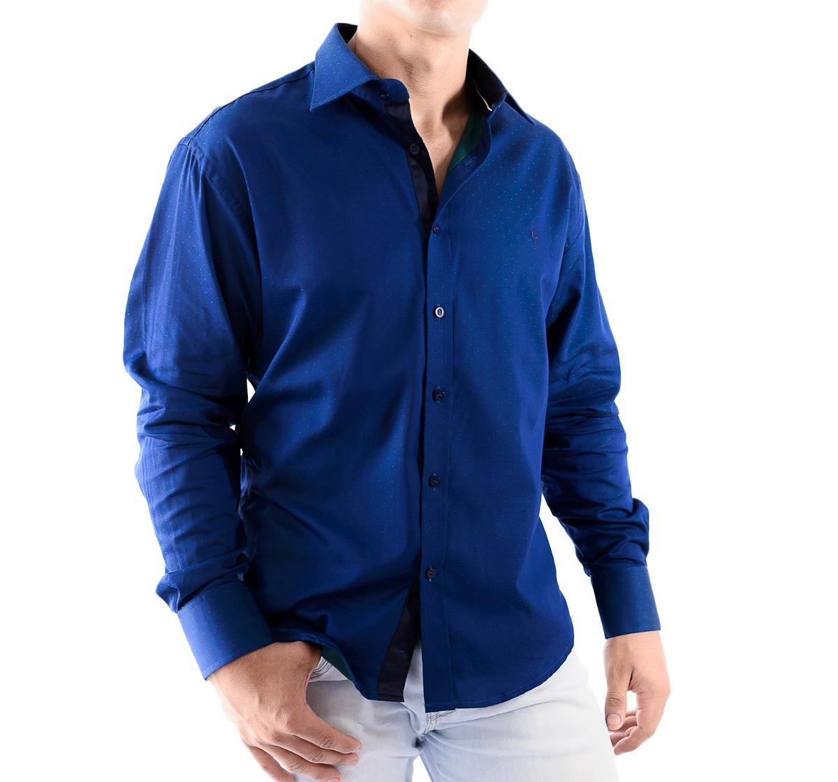 camisa zimpool social slim fit manga longa azul escuro 2018. Carregando  zoom. 0d0807cb0e6f9