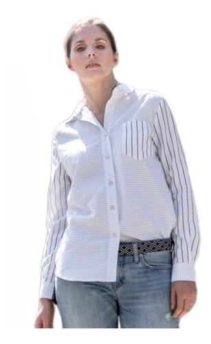 camisa zoe, combinada manga larga sustentable reinventando