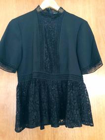 3837cbe35 Camisa\blusa Negra Con Encaje Marca Zara